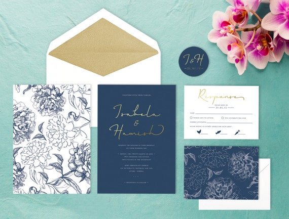 Navy And Gold Wedding Invitations: Navy And Gold Floral Wedding Invitation SAMPLE