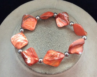 Vintage Shades Of Orange Glass Bracelet