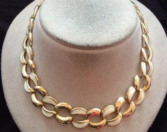 Vintage White Enameled Link Necklace