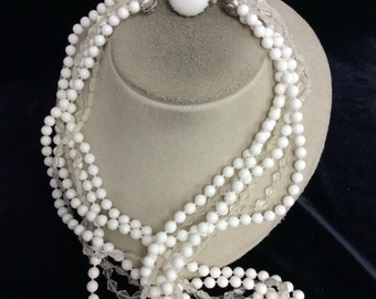 Vintage Multi Stranded White/Clear Beaded Necklace