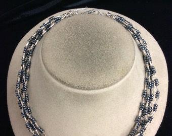 Vintage Multi Stranded Blue Glass Beaded Necklace