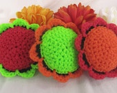 3 Scour Pad Flowers Nylon Scrubbie, Dish Pot Scrubber, Mesh Cleaning Sponge, Crochet Scrub, Kitchen, Bathroom, Laundry, Fiesta collection