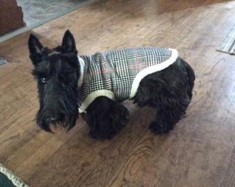 Wool plaid dog coat