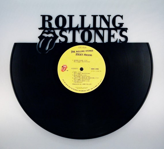 Recyled vinyl record rolling stones wall art for Vinyl record wall art