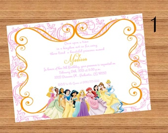 DISNEY PRINCESS Inspired Invitation, Printed or Digital file, 5x7