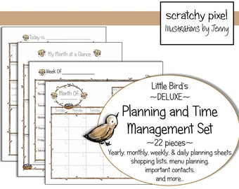 Little Bird's Deluxe Planner and Time Management Set ~ Twenty-two pieces, Download and Print