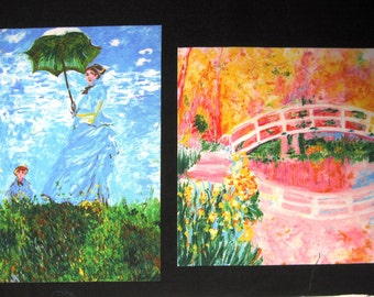 Pillow Panels Raised Bridge and Lady in Blue with Parasol Scenes Set of 2