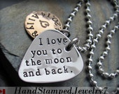 I Love You To The Moon and Back. Jewelry. Custom. Personalized. Engraved. Guitar Pick. Pic. Gift for Man. Husband. Boyfriend. Necklace.