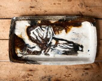 Jeppe Hagedorn Olsen dish, Danish stoneware dish, MCM dish, Denmark pottery dish, Scandinavian dish, Mid century dish, Gift for him, Retro