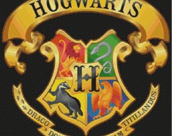 Hogwarts Crest Cross Stitch Pattern-Harry Potter