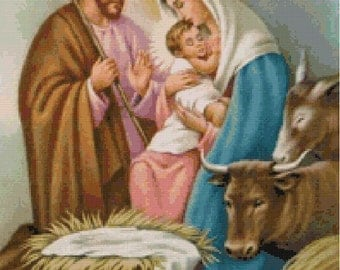 Holy Family Cross Stitch Pattern-St Joseph, Virgin Mary, Baby Jesus, Religious, Catholic