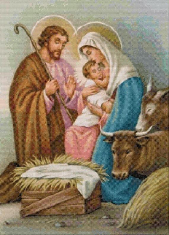 Holy Family Cross Stitch Pattern-St Joseph Virgin Mary Baby