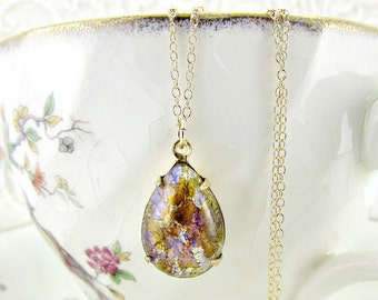 Gold Opal Necklace 14k Gold Filled Necklace Fire Opal