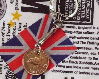 1942 British Farthing Coin Keyring Key Chain Fob King George VI Wren
