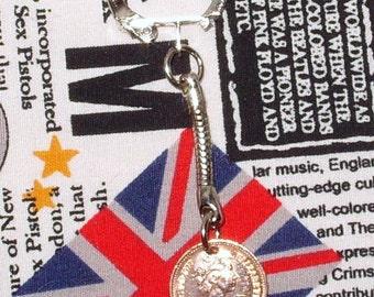 1977 British Half Pence Coin Keyring Key Chain Fob Queen Elizabeth II