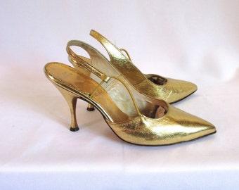 1960s Metallic Gold Leather Slingback Spike Heels Sz. 7 B