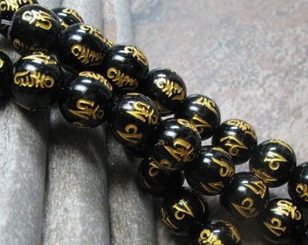 Om Mani Padme Hum Agate Beads 10 mm, full strand - Item B0015