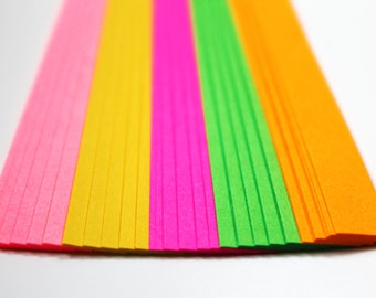 Neon folding paper for lucky stars - 60 paper strips - paper for origami stars