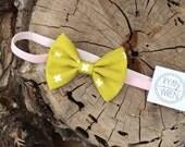 baby bow headband- chartreuse bow on light pink velvet