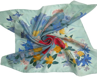 silk scarf Poppies flowers. Hand painted silk scarf. Red, yellow, blue painted silk. Batik hand painted scarf. Hand-rolled and stitched