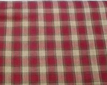 Homespun Plaid Fabric – Red and Tan Plaid