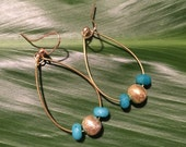 Pi'ikoi Earrings | gold hoops with gold center bead and turquoise colored beads
