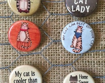 Cat Lover Pack of 6 Pinback Buttons each one is 1.25 inches in size