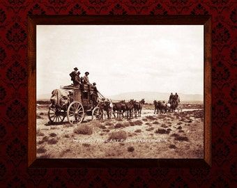 Western Decor Vintage Photo Tombstone Stagecoach Cowboys Cowgirls 1878