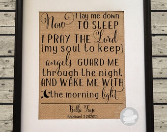 Bedtime Prayer Personalized Burlap Art - Now I lay me down to sleep - Nursery - Christening Baptism Gift - Artwork only