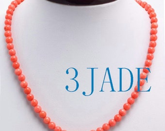 """18"""" Genuine Pink / Red Coral 6.5mm Beads Necklace  -D001045"""