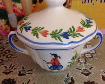 Hand painted Longchamp decor inalterable cup with a lid..(Very collectable)..