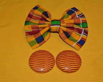 Clip on Kente Bow tie and Earrings Set