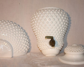 White glass hobnail wall fountain lavabo basin urn and lid in very good condition