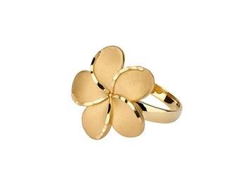14K Gold Plumeria Ring. Plumeria Ring, Plumeria Jewelry, Floral Ring, Floral Jewelry, Gold Plumeria, Gold Ring, Fancy Ring, Ring