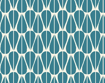 Monaluna, Little Leaves, Teal, Organic Fabric, GOTS, Canvas, Fabric by the Yard, Westwood Canvas, Certified Organic, Home Decor Fabric, Blue