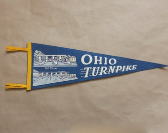 Vintage Felt Pennant Flag-Ohio Turnpike-Retro Collectible Home Decor
