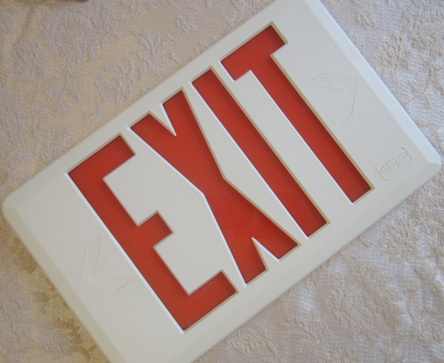 Safety Orange Exit Sign Plastic Vinyl By Bobbiesvintageshoppe