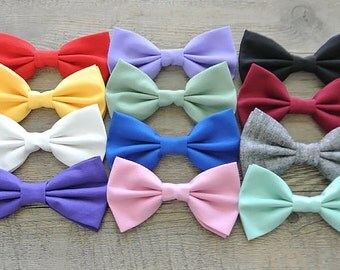 Solid Color Hair Bows, Colorful Bows, Solid Color Bow Tie, Hair Bow, Bow Tie, Mens Bow Tie, Hairbow, Tie, Hair Accessories, Rainbow, Spring