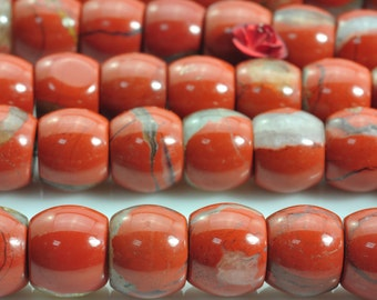42 pcs of Red Jasper smooth drum beads in 9x10mm