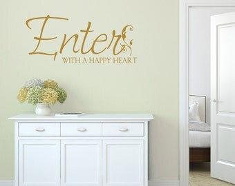 Enter With A Happy Heart Hallway Wall Sticker, Hallway Wall Decals, Quote Wall Stickers, Quote Wall Art, Enter Wall Transfers - QU088