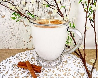 Soy Candle, Cinnamon Chai Candle, Hand Poured Into Re-Useable 16oz Cafe' Mug, Highly Fragranced, ECO-Friendly