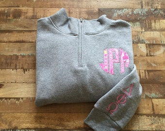 Lilly Pulitzer Sweatshirt w/ Greek Letters on Sleeve