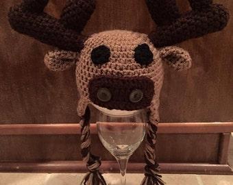 Crochet Moose Hat w/ Earflaps & Ties