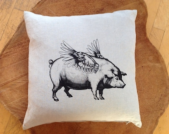 When Pigs Fly Screen Printed 100% Linen Pillow Cover