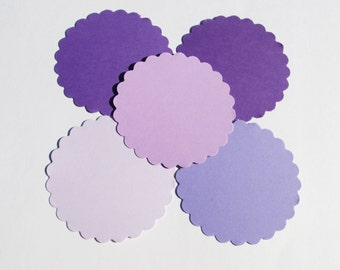"50 PURPLE Paper Scallop Circles die cuts, your choice of size, 1"",1.5"",2"",2.5"",3"", 3.5"", great for tags, scrapbooking, baby shower"
