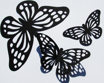 "Paper Monarch butterfly die cuts /Black color / 15 pc. set /   size from 1.5"" to 5.5"" / big butterfly die cuts"