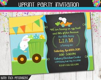Easter Birthday Invitation - Spring Birthday Invitation - Bunny in Dump truck