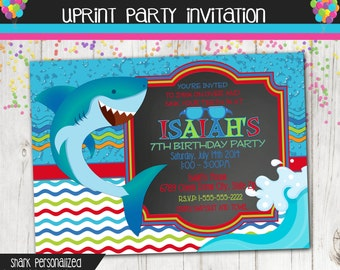 Shark Invitation - Pool Party Invitation - Custom - Printable - Summer Party