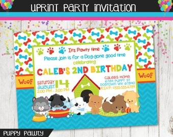 Puppy Party Pawty Birthday Party Invitation Printable