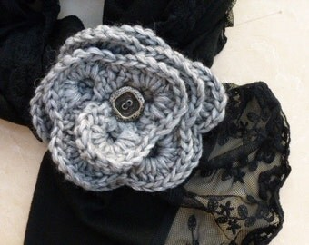 Crochet flower brooch, crochet flower pin brooch, gift for her. Grey silver colour. Wool brooch with button, woman accessory.